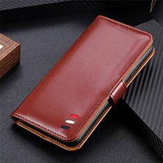 Custodia Portafoglio In Pelle Cover con Supporto per LG Q52 Marrone