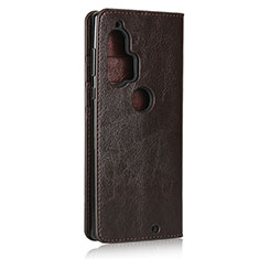 Custodia Portafoglio In Pelle Cover con Supporto per Motorola Moto Edge Plus Marrone
