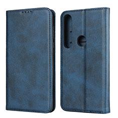 Custodia Portafoglio In Pelle Cover con Supporto per Motorola Moto G8 Plus Blu