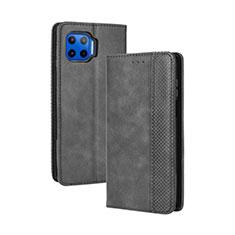 Custodia Portafoglio In Pelle Cover con Supporto per Motorola Moto One 5G Nero