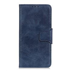 Custodia Portafoglio In Pelle Cover con Supporto per Motorola Moto One Fusion Blu