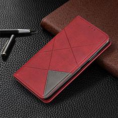 Custodia Portafoglio In Pelle Cover con Supporto per Motorola Moto One Zoom Rosso
