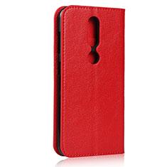Custodia Portafoglio In Pelle Cover con Supporto per Nokia 4.2 Rosso