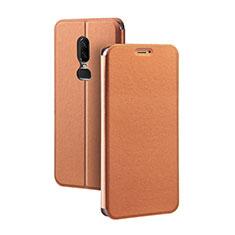 Custodia Portafoglio In Pelle Cover con Supporto per OnePlus 6 Arancione