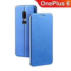 Custodia Portafoglio In Pelle Cover con Supporto per OnePlus 6 Blu