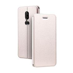 Custodia Portafoglio In Pelle Cover con Supporto per OnePlus 6 Oro Rosa