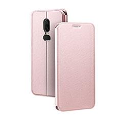 Custodia Portafoglio In Pelle Cover con Supporto per OnePlus 6 Rosa