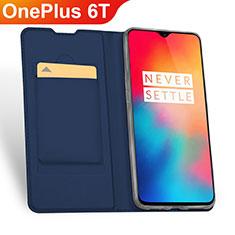 Custodia Portafoglio In Pelle Cover con Supporto per OnePlus 6T Blu