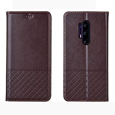 Custodia Portafoglio In Pelle Cover con Supporto per OnePlus 8 Pro Marrone
