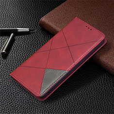 Custodia Portafoglio In Pelle Cover con Supporto per Oppo A15 Rosso