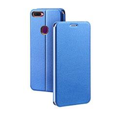 Custodia Portafoglio In Pelle Cover con Supporto per Oppo A7 Blu