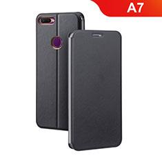 Custodia Portafoglio In Pelle Cover con Supporto per Oppo A7 Nero