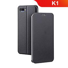 Custodia Portafoglio In Pelle Cover con Supporto per Oppo K1 Nero