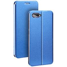 Custodia Portafoglio In Pelle Cover con Supporto per Oppo R17 Neo Blu