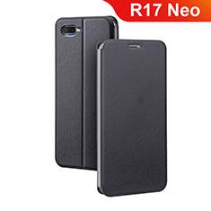 Custodia Portafoglio In Pelle Cover con Supporto per Oppo R17 Neo Nero