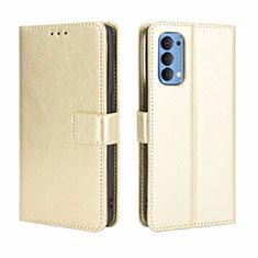 Custodia Portafoglio In Pelle Cover con Supporto per Oppo Reno4 4G Oro