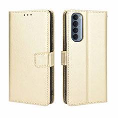 Custodia Portafoglio In Pelle Cover con Supporto per Oppo Reno4 Pro 4G Oro