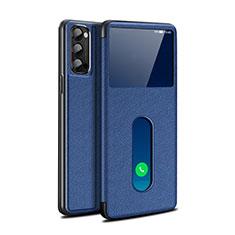 Custodia Portafoglio In Pelle Cover con Supporto per Oppo Reno4 Pro 5G Blu