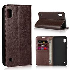 Custodia Portafoglio In Pelle Cover con Supporto per Samsung Galaxy A10 Marrone
