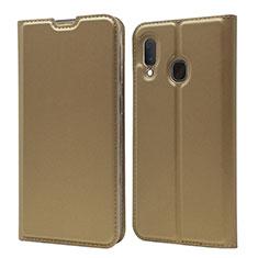Custodia Portafoglio In Pelle Cover con Supporto per Samsung Galaxy A20e Oro