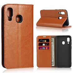 Custodia Portafoglio In Pelle Cover con Supporto per Samsung Galaxy A40 Arancione