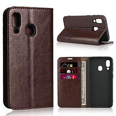 Custodia Portafoglio In Pelle Cover con Supporto per Samsung Galaxy A40 Marrone