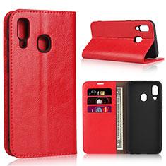 Custodia Portafoglio In Pelle Cover con Supporto per Samsung Galaxy A40 Rosso