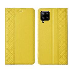 Custodia Portafoglio In Pelle Cover con Supporto per Samsung Galaxy A42 5G Giallo