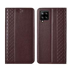 Custodia Portafoglio In Pelle Cover con Supporto per Samsung Galaxy A42 5G Marrone