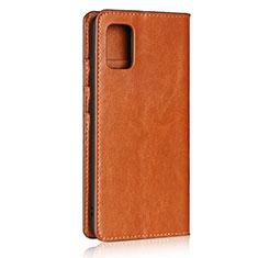 Custodia Portafoglio In Pelle Cover con Supporto per Samsung Galaxy A51 4G Marrone Chiaro