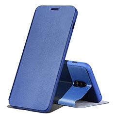Custodia Portafoglio In Pelle Cover con Supporto per Samsung Galaxy C8 C710F Blu