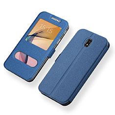 Custodia Portafoglio In Pelle Cover con Supporto per Samsung Galaxy J5 (2017) SM-J750F Blu