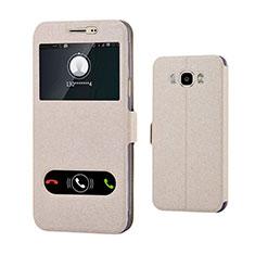 Custodia Portafoglio In Pelle Cover con Supporto per Samsung Galaxy J7 (2016) J710F J710FN Oro