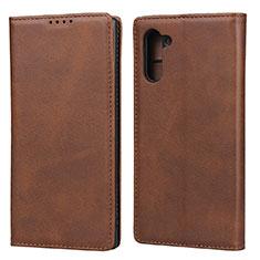 Custodia Portafoglio In Pelle Cover con Supporto per Samsung Galaxy Note 10 5G Marrone