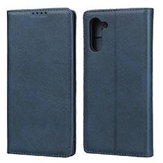 Custodia Portafoglio In Pelle Cover con Supporto per Samsung Galaxy Note 10 Blu