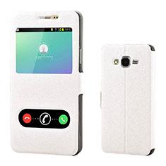 Custodia Portafoglio In Pelle Cover con Supporto per Samsung Galaxy On7 G600FY Bianco