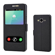 Custodia Portafoglio In Pelle Cover con Supporto per Samsung Galaxy On7 G600FY Nero