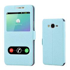 Custodia Portafoglio In Pelle Cover con Supporto per Samsung Galaxy On7 Pro Cielo Blu