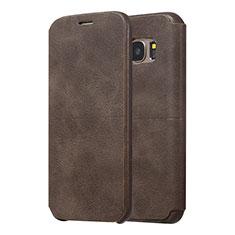Custodia Portafoglio In Pelle Cover con Supporto per Samsung Galaxy S7 Edge G935F Marrone
