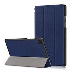 Custodia Portafoglio In Pelle Cover con Supporto per Samsung Galaxy Tab A7 4G 10.4 SM-T505 Blu