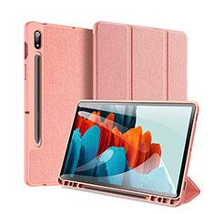 Custodia Portafoglio In Pelle Cover con Supporto per Samsung Galaxy Tab S7 Plus 12.4 Wi-Fi SM-T970 Rosa