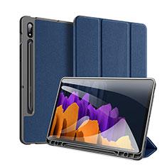 Custodia Portafoglio In Pelle Cover con Supporto per Samsung Galaxy Tab S7 Plus 5G 12.4 SM-T976 Blu