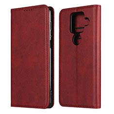 Custodia Portafoglio In Pelle Cover con Supporto per Sharp AQUOS Sense4 Plus Rosso
