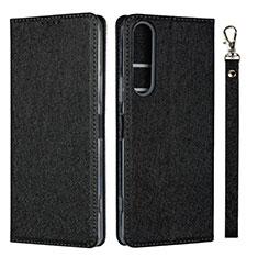 Custodia Portafoglio In Pelle Cover con Supporto per Sony Xperia 1 II Nero