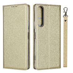 Custodia Portafoglio In Pelle Cover con Supporto per Sony Xperia 1 II Oro