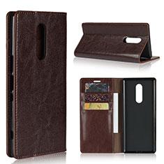 Custodia Portafoglio In Pelle Cover con Supporto per Sony Xperia 1 Marrone