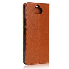 Custodia Portafoglio In Pelle Cover con Supporto per Sony Xperia 8 Lite Marrone Chiaro