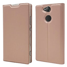 Custodia Portafoglio In Pelle Cover con Supporto per Sony Xperia XA2 Oro Rosa
