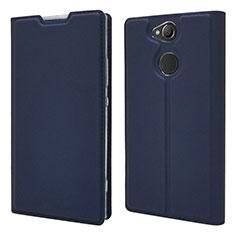 Custodia Portafoglio In Pelle Cover con Supporto per Sony Xperia XA2 Plus Blu