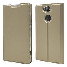 Custodia Portafoglio In Pelle Cover con Supporto per Sony Xperia XA2 Plus Oro